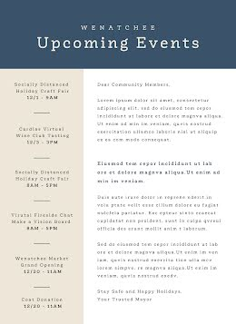 Upcoming Events - Newsletter item