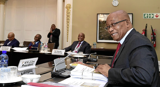 IMAGINE THERE'S NO ZUMA Who's going to win? Jacob Zuma (seen here with the Presidential Co-ordinating Council)? Or South Africa?