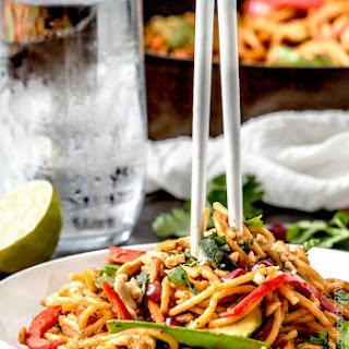 Easy 25 Minute Spicy Thai Pumpkin Noodles (with chicken option).