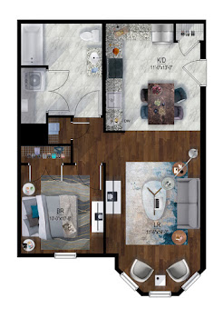 Go to Park St - 1 Bed, 1 Bath Floorplan page.
