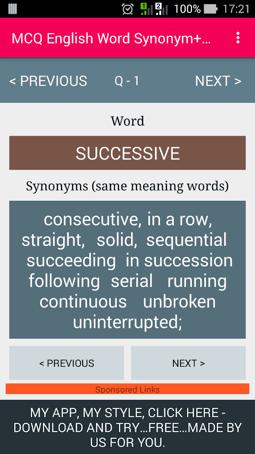 Worksheets Synonym English Word Main mcq english word synonymguide android apps on google play screenshot