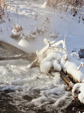 Photo: Morning steam over ice and snow on a river at Eastwood Park in Dayton, Ohio.