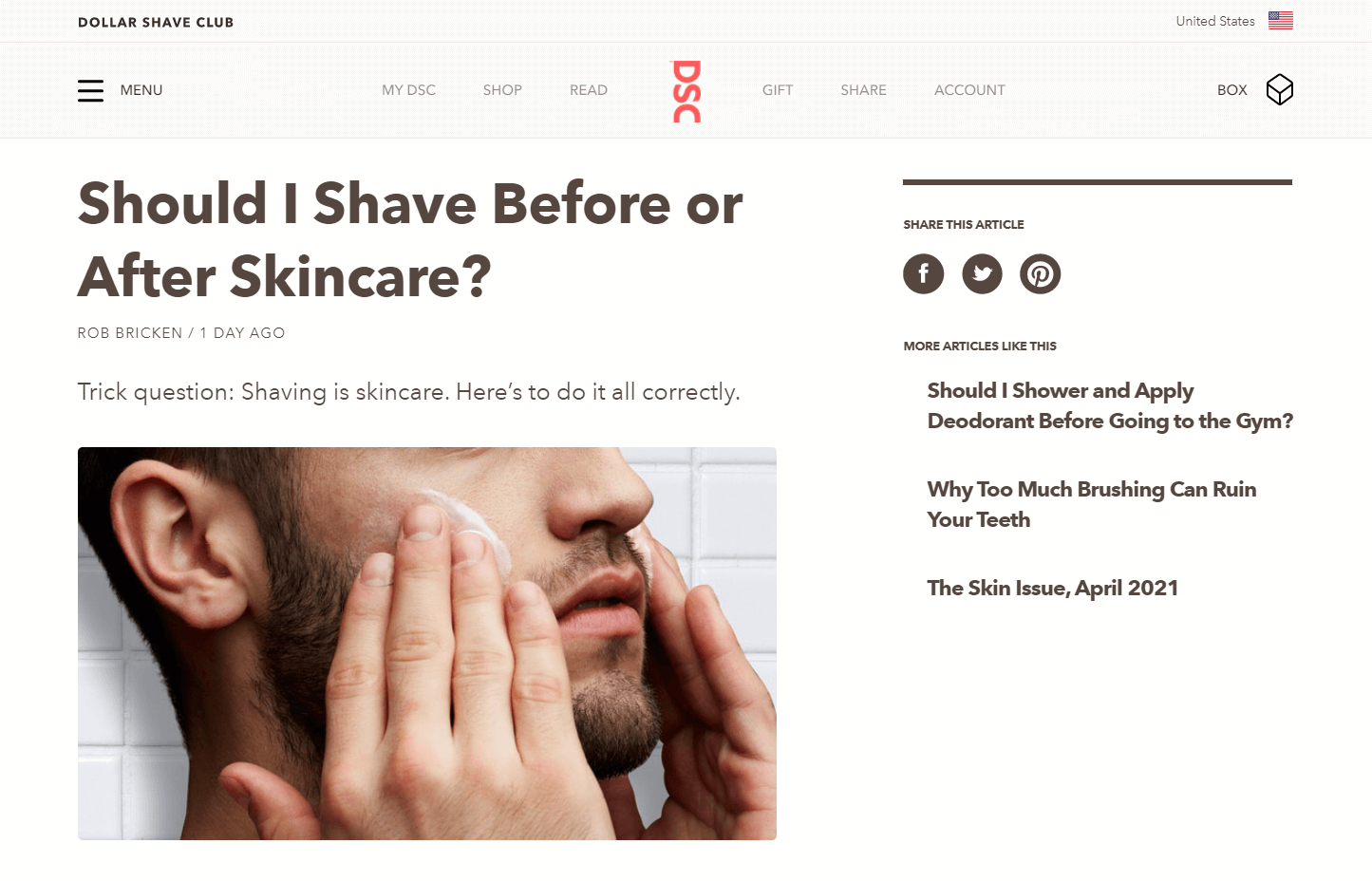 """An image of Dollar Shave Club's blog, featuring an article titled """"Should I Shave Before or After Skincare?"""""""