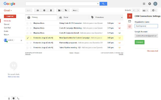 Code-K Gmail Sync for Microsoft Dynamics 365