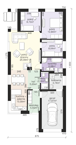 Dom przy Pastelowej 15 bis - Rzut parteru