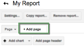 Add page tab highlighted in the button and tab section of the report editor