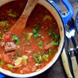 Grilled Hamburger Sriracha Soup.