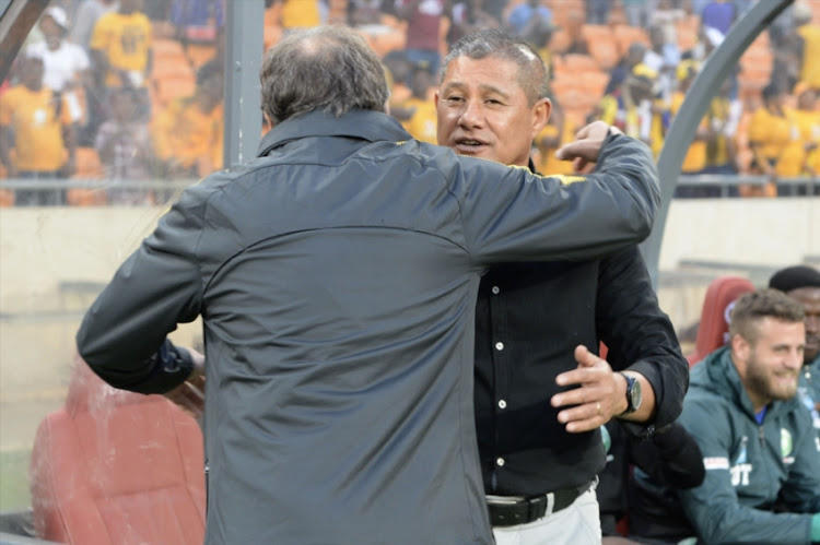 Cavin Johnson (Coach) and Giovanni Solinas (Coach of Kaizer Chiefs) during the Absa Premiership match between Kaizer Chiefs and AmaZulu FC at FNB Stadium on September 22, 2018 in Johannesburg, South Africa.