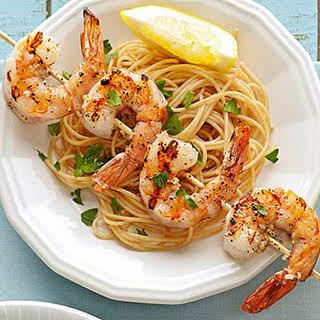 Skewered Shrimp Scampi.