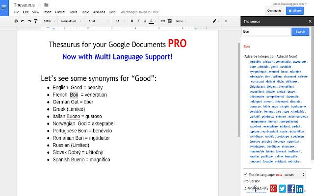 Thesaurus Google Docs Thesaurus - Goog...