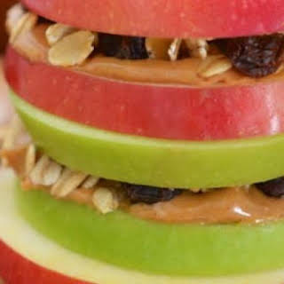 Apple Sandwiches with Granola and Peanut Butter.