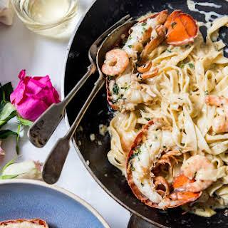 Creamy Champagne Lobster & Prawn Valentine Pasta.
