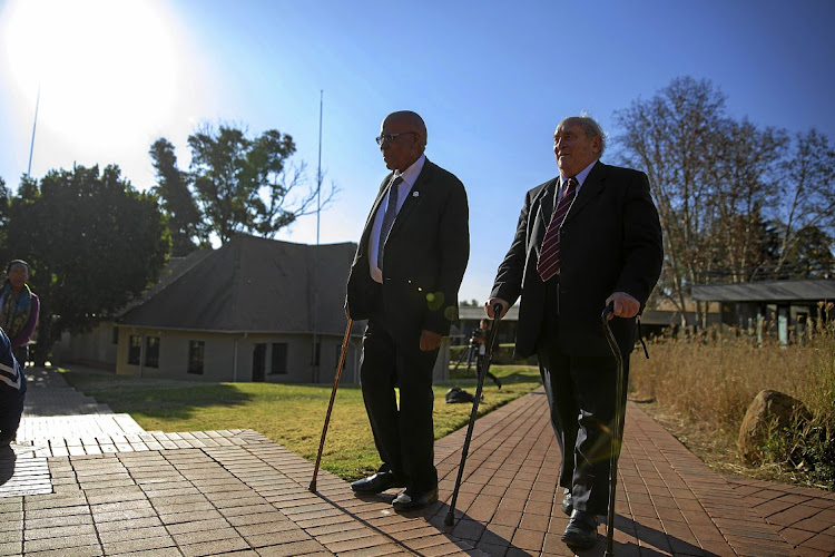 Denis Goldberg, right, with the last surviving Rivonia triallist, Andrew Mlangeni, at Liliesleaf farm in 2014, 50 years after they were arrested there. File photo.