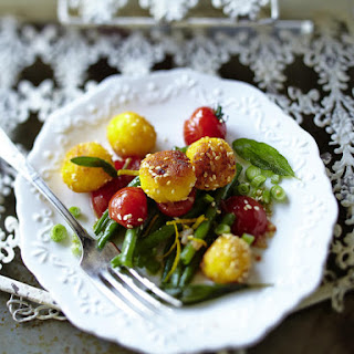 Sesame and Orange Polenta Balls with Green Beans and Tomatoes