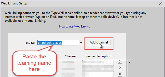 Web Linking setup window with a teaming name pasted into the