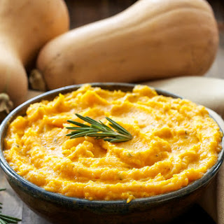 Mashed Butternut Squash with Goat Cheese and Rosemary.