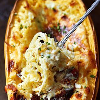 Baked Four Cheese Garlic Spaghetti Squash.