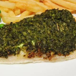 Pesto Crusted Sea Bass.