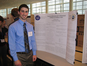 Photo: Curt with his poster. Curt won one of 32 prizes from 233 entries at the 2010 Mathematical Association of America Undergraduate Poster Session.