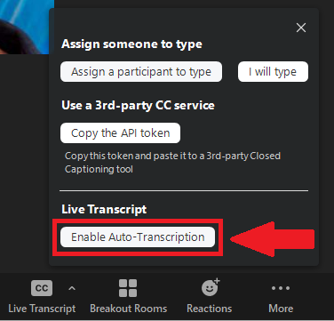 Enable Auto-Transcription button highlighted