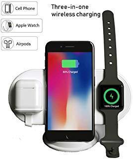 NAACK 3 en 1 Pad Cargador inalambrico Airpower, 3 en 1 Qi Cargador inalámbrico para iPhone Airpods IWatch, Cargador inalámbrico Samsung S9 / S8 / Plus (3 en 1 Pad de Cargador inalámbrico)