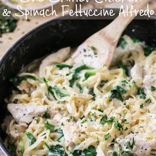 One Skillet Chicken & Spinach Fettuccine Alfredo.