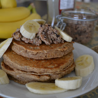 "Banana Bread Pancakes w/ Cacao, Pecan & Walnut ""Butter"""