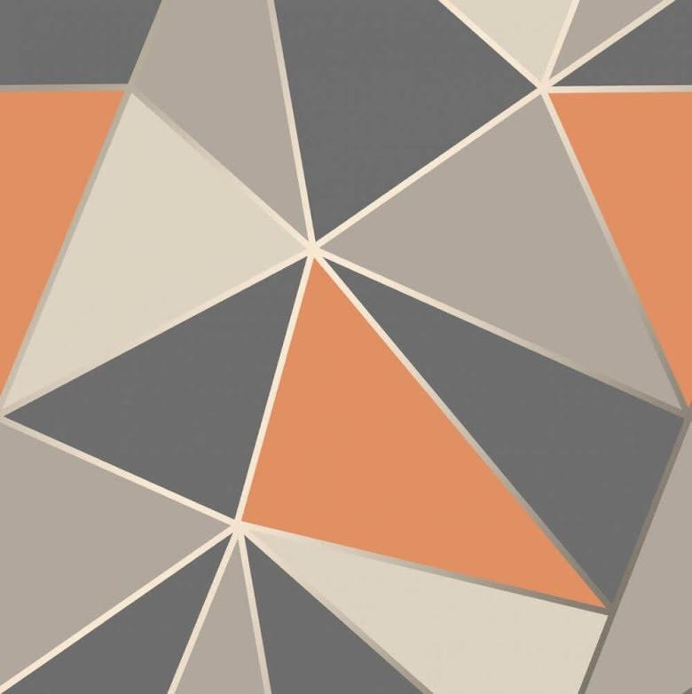Apex geometrisk tapet FD42002 - Orange