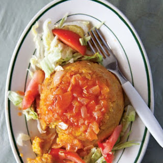Mofongo con Salsa de Tomate (Mashed Plantains with Tomato Sauce).