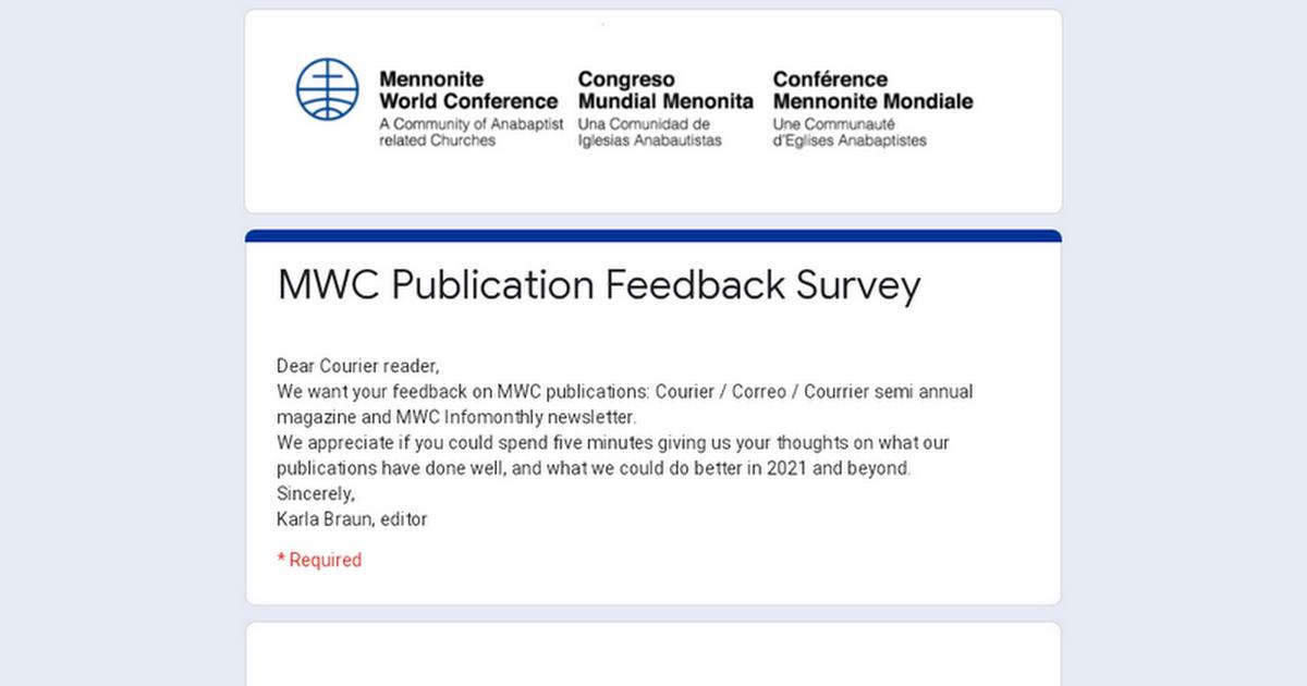 MWC Publication Feedback Survey