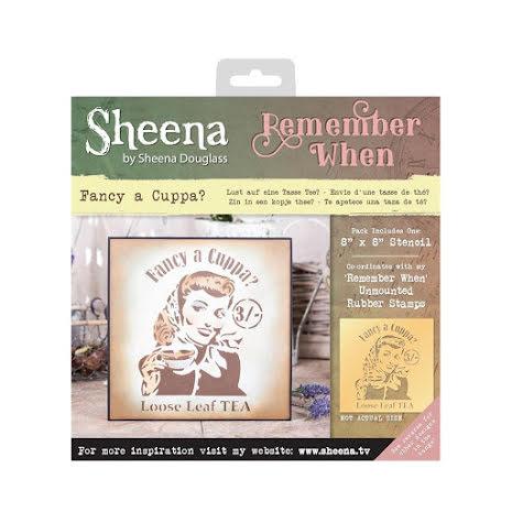 Sheena Douglass Remember When 8X8 Stencil - Fancy A Cuppa UTGÅENDE