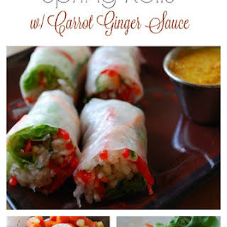 Spring Rolls with Carrot-Ginger Dipping Sauce.