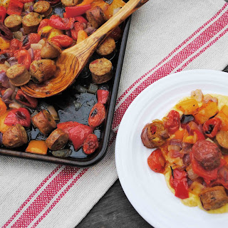 Sheet Pan Sausage & Peppers Over Cheesy Polenta Recipe