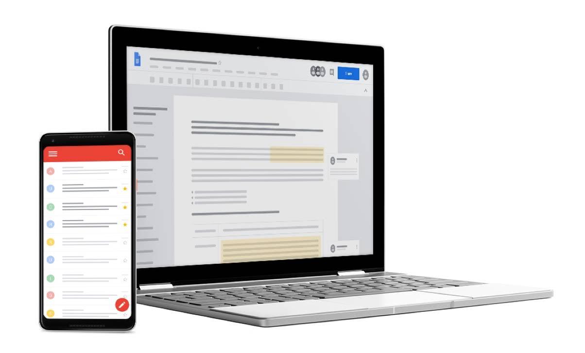 插圖中有一台 Chromebook 螢幕顯示 Google 文件,旁邊是開啟 Gmail 的智慧型手機
