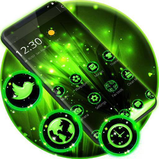 Neon Green Laser Light Glitter Theme Applications Sur