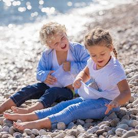 Anja&Nicholas III by Gregor Grega - Babies & Children Children Candids ( playground, beautiful, sea, children, happiness, beach, kids, sister, love, enjoyment, nature, blue, happy kids, lovely, childhood, brother, stones,  )