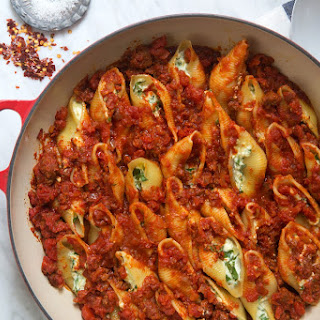 Spinach and Ricotta Stuffed Shells with Spicy Chorizo.