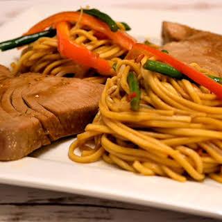 Easy Teriyaki Tuna Steaks with Spicy Fresh Noodles.