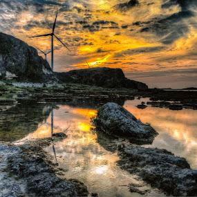 WINDMILL SUNSET  by Chase Alog - Landscapes Sunsets & Sunrises