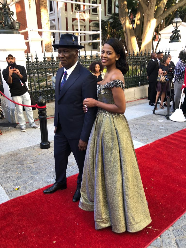 Deputy Minister of Agriculture, Forestry and Fisheries Bheki Cele and his wife Thembeka Ngcobo on the red carpet ahead of the state of the nation address in Cape Town on 16 February 2018.