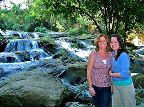 Photo: Lisa and Audrey by the waterfall in the Queen's garden