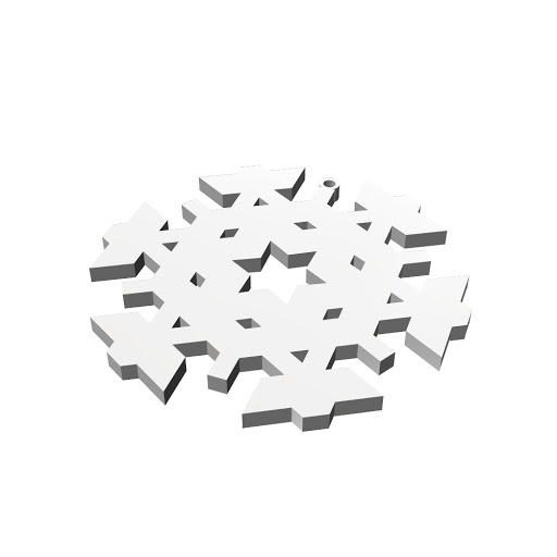 Detail of 3D printed product 'Christmas Snowflake Ornament
