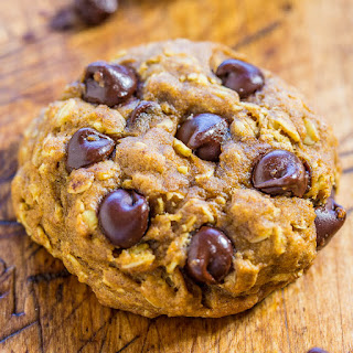 Soft and Chewy Pumpkin Oatmeal Chocolate Chip Cookies.