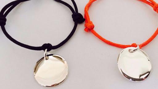bracelet médaille bombée argent