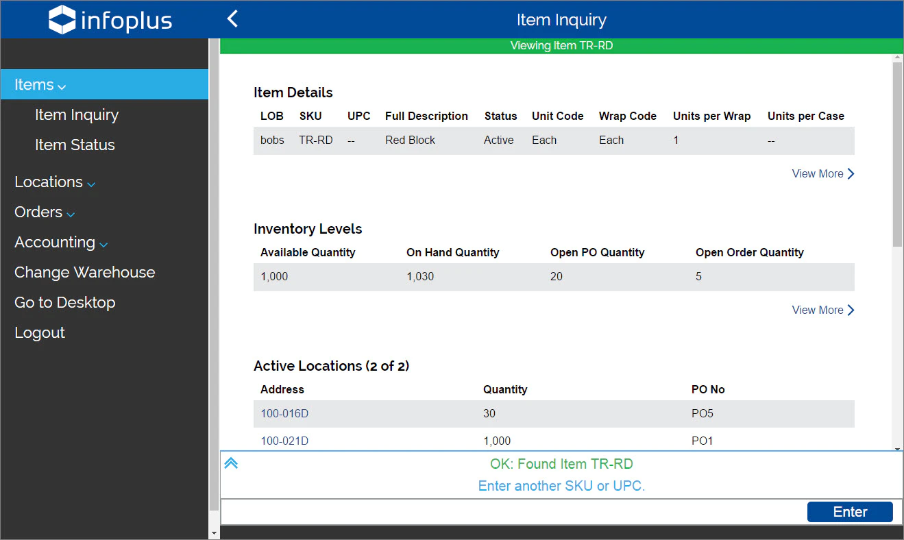 Screenshot of Infoplus Warehouse Management Systems.