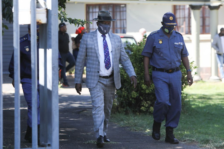 Police minister Bheki Cele leaves the family home of Mthokozisi Ntumba in Kempton Park on March 11 2021. Cele says a claim made by EFF leader Julius Malema that the police would pay for Ntumba's burial was false and misleading.