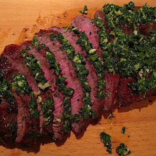 Grilled Flat Iron Steak with Salsa Verde