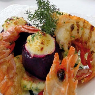 Cheese-Stuffed Beetroot with Grilled Langoustines