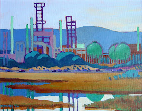 Photo: View from Waterbird Park, Martinez, acrylic by Nancy Roberts, copyright 2014. Private collection.