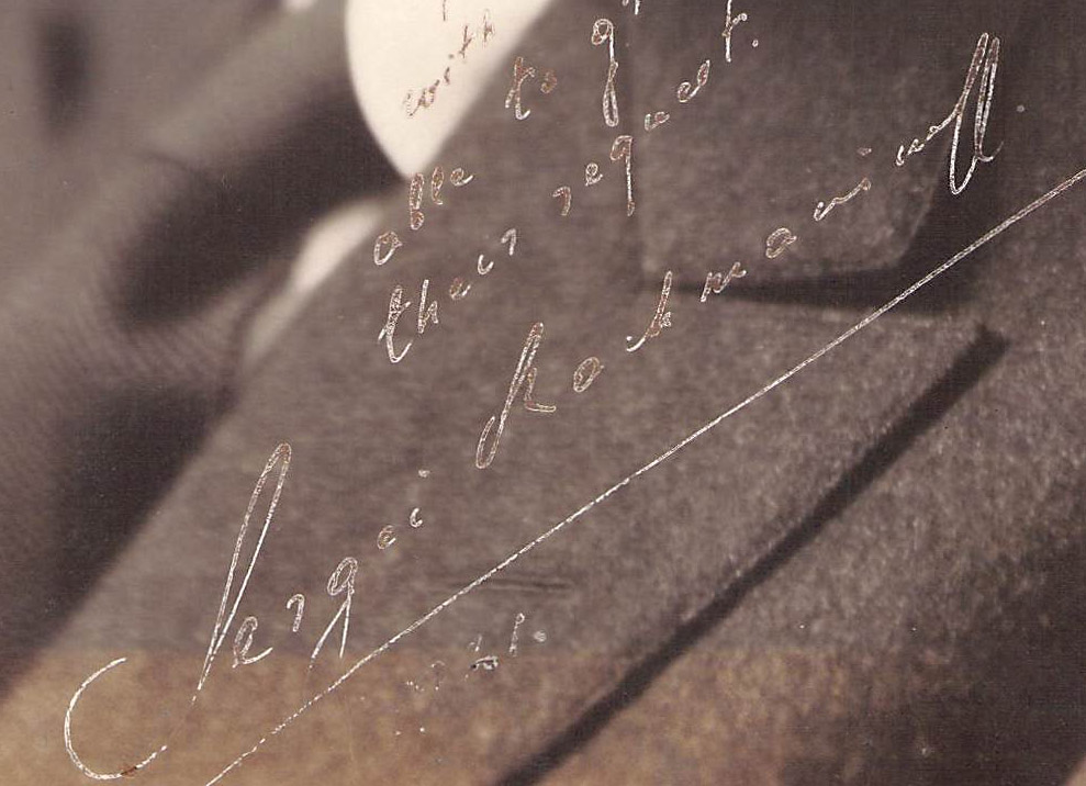 Rachmaninoff signed photo - detail - INK LOSS